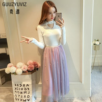 GUUZYUVIZ Woman Clothes White Hollow Out Slim Pullover Knitting Sweater Tops And High Waist Beading Tulle Skirt 2Piece Set Women