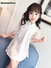 2019 new red year chinese dress kids children cheongsam baby girl modern qipao vestido oriental dresses traditional opening ceremony party show blue red cheongsam wedding dress for overseas chinese women vestido oriental collar sexy long qi pao