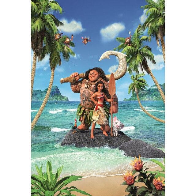 Vinilo Personalizado Dibujos Animados Moana Waialiki Maui Isla Verde