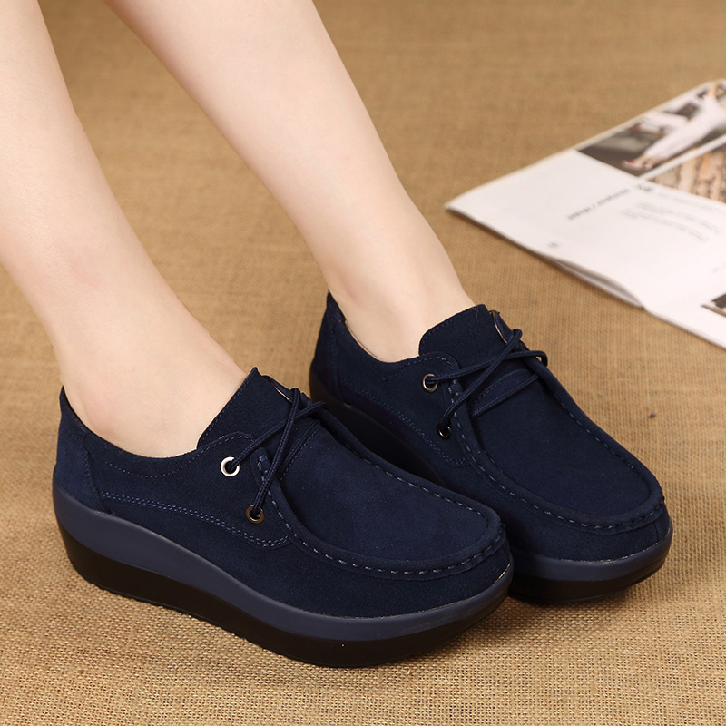 Image 4 - 新しい春の秋の靴女性の牛スエードレザーフラットプラットフォーム女性の靴レースアップ女性のローファー厚い底女性スニーカーwomen loafersplatform women shoesleather flat -