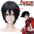 Anime Adventure Time Marshall Lee Black Straight Short Cosplay Wig + Free Wig Cap Free Shipping