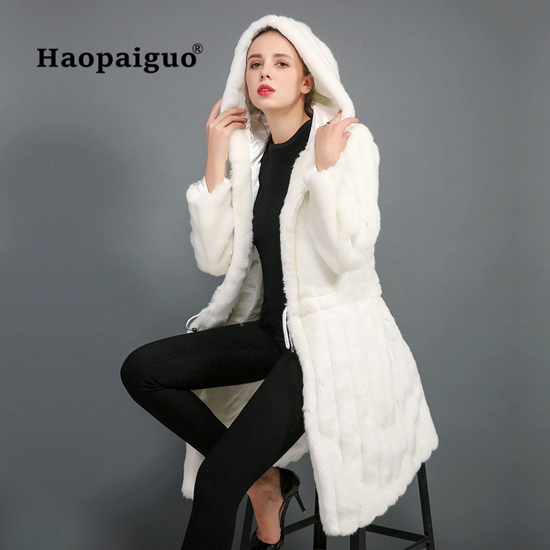White Rabbit Fur Coat Women Long Sleeve Thick Warm Fur Coat Women Hooded Classic Generous Golden Ratio Practical Fur Jacket Hat