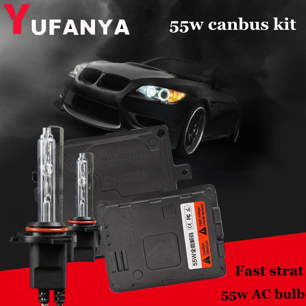 55w AC hid xenon kit conversion set canbus xenon ballast with h1 h4 h7 h8 h11 hb3 hb4 xenon bulb color 4300k -12000K 1 set h4 9003 headlight hid xenon bulb wire harness connector relay fuse black h4 headlamp connector conversion kit