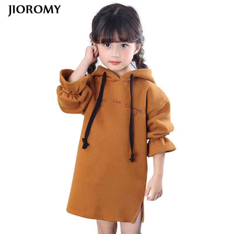 JIOROMY Girls Dress 2018 Winter Long Sleeve Hoodie Thicker Warm Letter Dresses for Large Girls Children's Clothing Kids Clothes letter print colorful hoodie