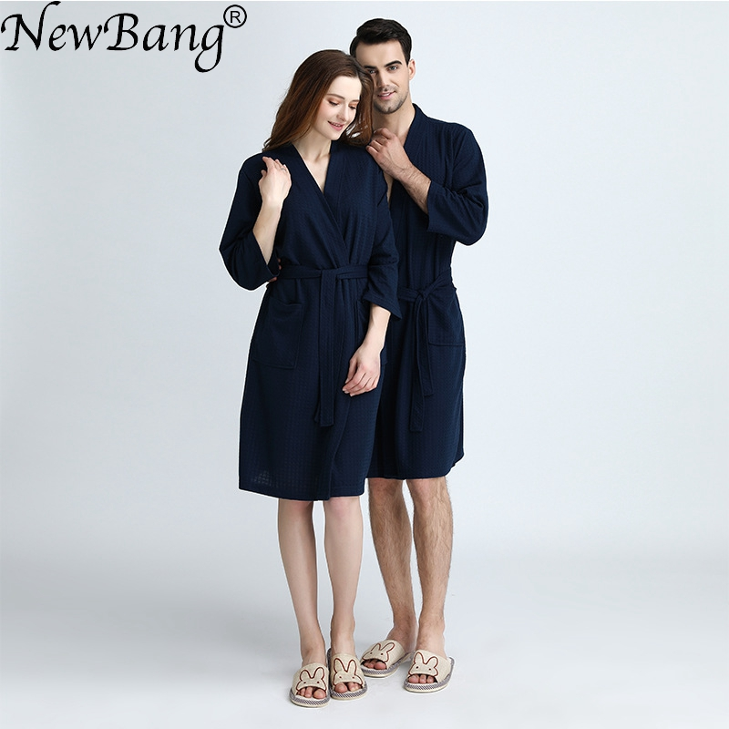 NewBang Brand Large Size Womens Bathrobe Loves Long Knitted Waffle Fabric Nightgown Thin Soft Bath Robe Ladies Home Wear