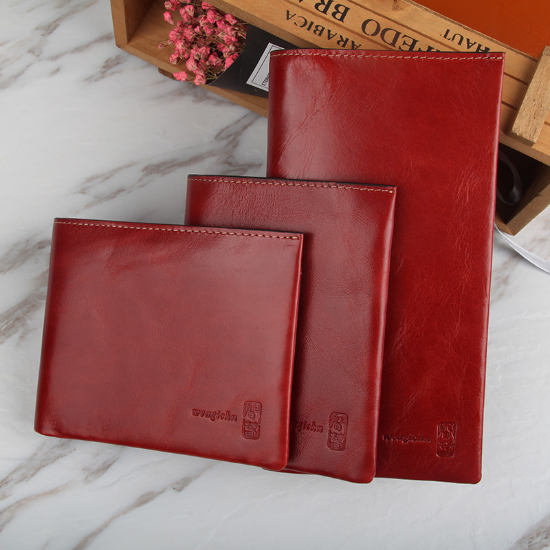 2017 Vintage Mens Long Wallet Genuine Leather Red Womens Purse Original Real Leather Male Hand Bags Coin Purses Card Holder