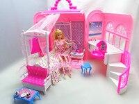 赤ちゃんの女の子誕生日ギフトパックホット販売ファッションミニプラスチックピンク甘いdiyドールハウス家具