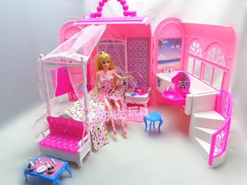 Фотография Baby Girl Birthday Gift Pack Hot Sale Fashion Mini Plastic Pink Sweet DIY Doll House Furniture