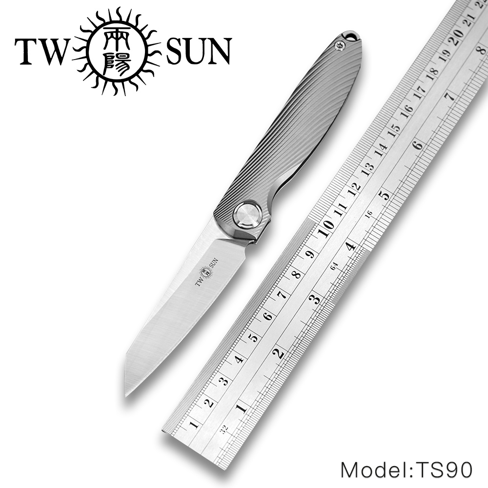 TwoSun m390 folding Pocket Knife camping knife hunting knife outdoor camping survival tool EDC Titanium SLIP JOINT Knife TS90