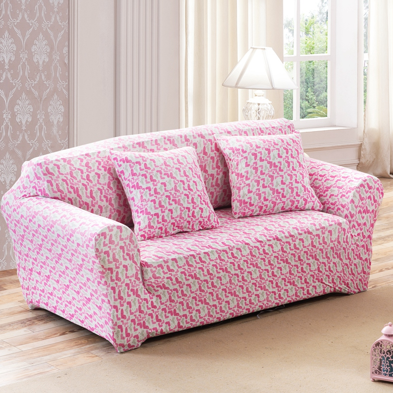 buy sunnyrain pink heart elastic sofa cover sofa slipcover for sectional sofa 3. Black Bedroom Furniture Sets. Home Design Ideas