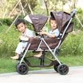 Antes e depois do duplo carrinho de criança dobrável carrinho de carrinho de criança leve duplo assento reclinável