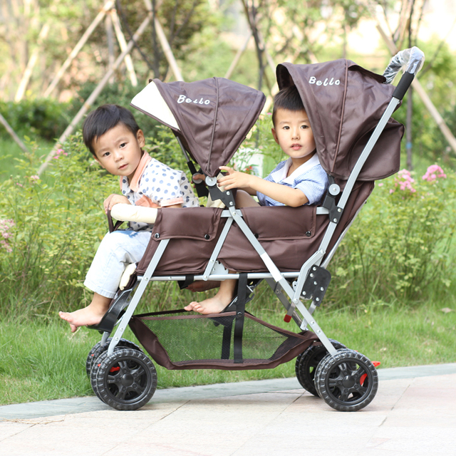 Before and after the twin stroller sitting stroller lightweight stroller folding double seater reclining