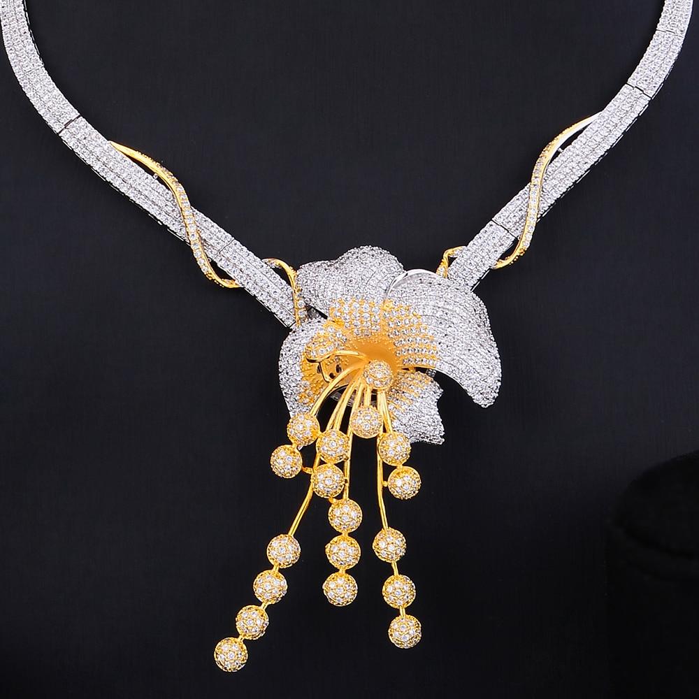 GODKI Luxury Flower 4PCS Nigeria Choker Lariat Necklace Set For Women Wedding Zircon Indian African Statement Bridal Jewelry Set