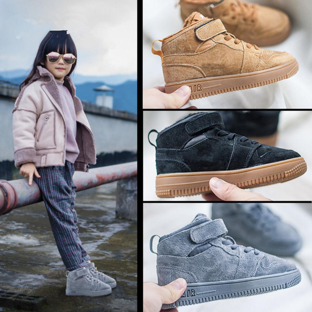 2016 Winter Children's Genuine Leather Plus Velvet Warm Casual Shoes  Boys Girls Models Cotton Shoes Fashion Sneakers For KIDS