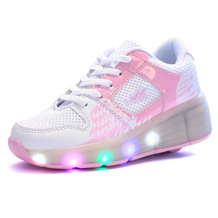 single wheel Glowing Boys Girls Breathable Roller Skates Sneakers LED Light Shoes Little Kids/Big Kids Flashing Board 30-39
