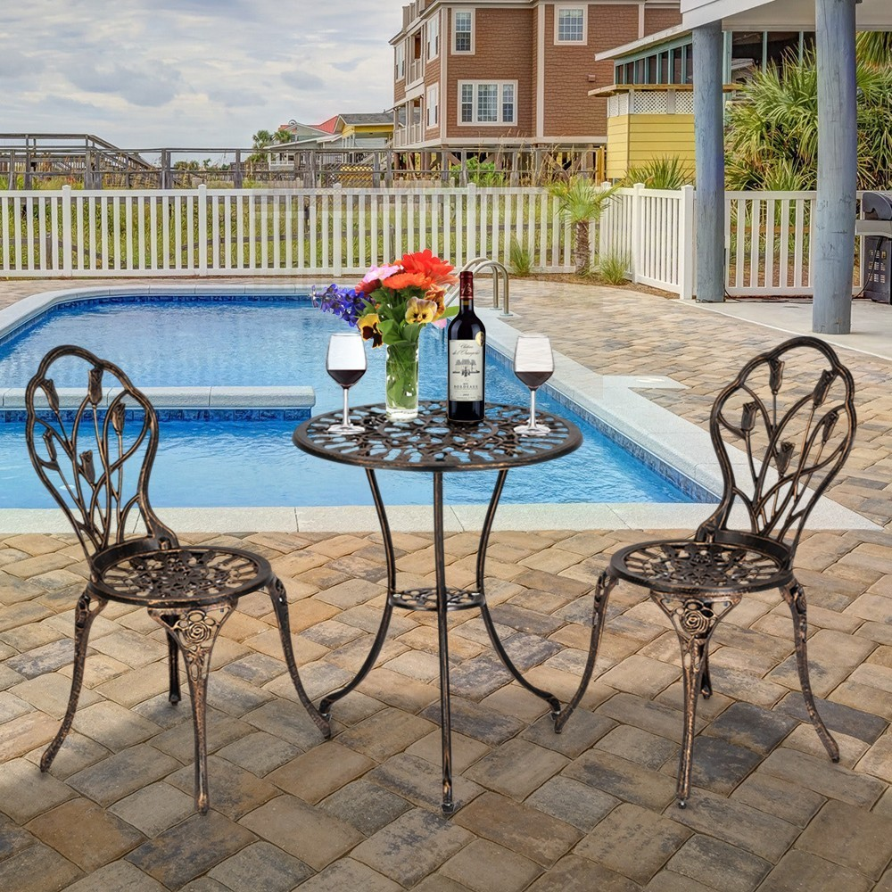 3 Piece set European Style Cast Aluminum Outdoor Tulip Bistro Set ...