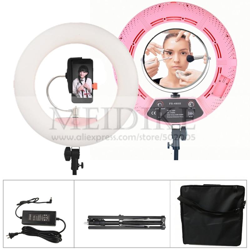 Original Yidoblo Pink FS-480II Bio-color adjustable beauty salon makeup 48W 480 LEDS Ring Light LED Lamp+ 2M standing+Bag Kit