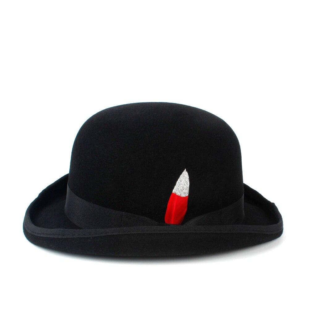 100% Wool Women s Men s Black Derby Hat Bowler Felt Hats Steampunk 4Size S  M L XL-in Fedoras from Apparel Accessories on Aliexpress.com  02eb7c2ea1e