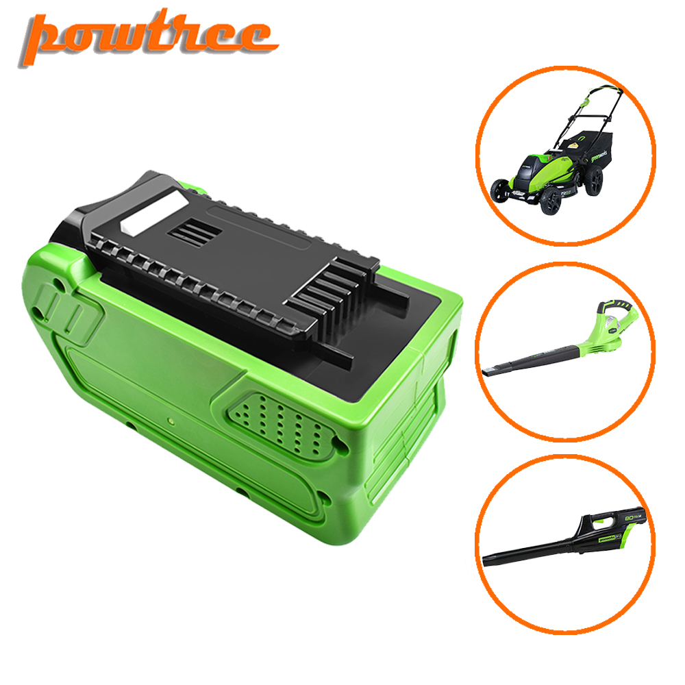 Powtree 40V 6000mAh Rechargeable Replacement Battery For Creabest 40V 200W GreenWorks 29462 29472 22272 G-MAX GMAX L30
