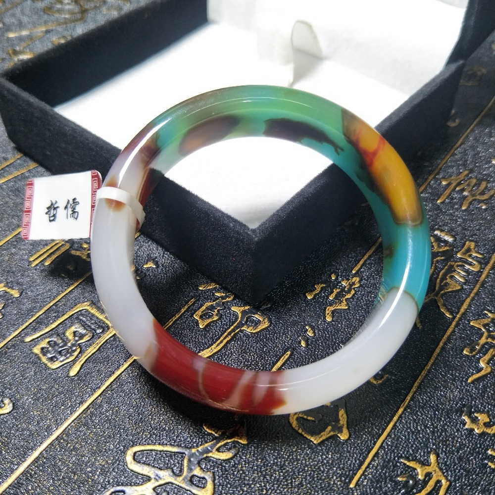 Send A certificate natural colorful jade bracelets carved red white blue multicolor 54-61mm female bracelets jewelry giftsSend A certificate natural colorful jade bracelets carved red white blue multicolor 54-61mm female bracelets jewelry gifts