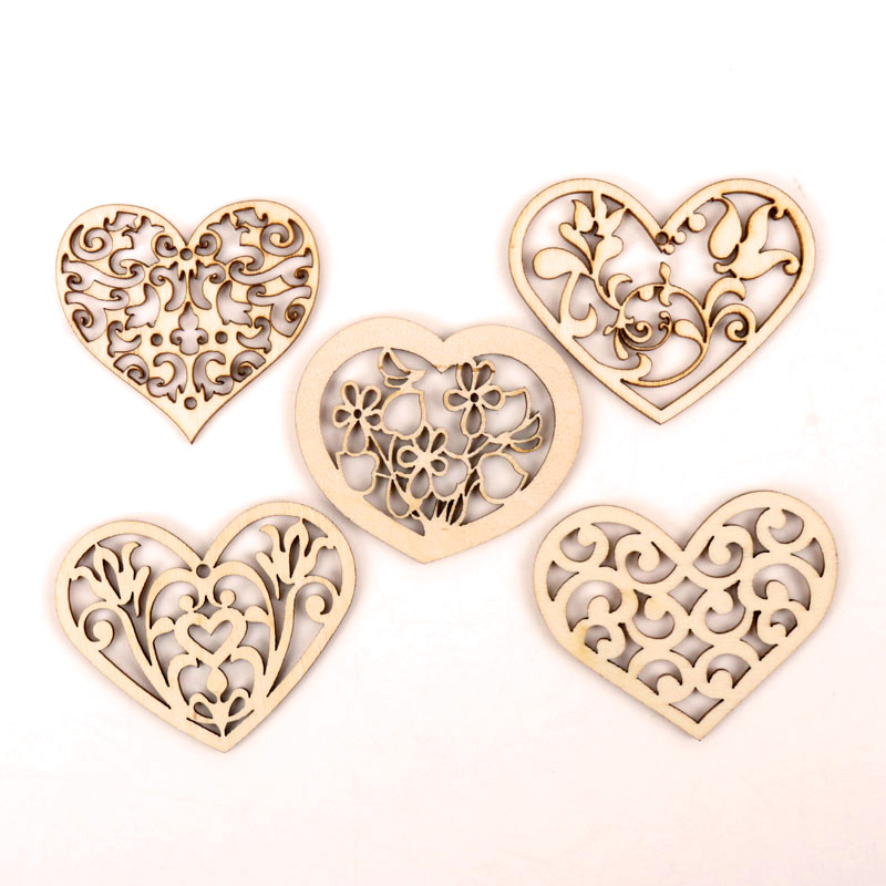 Lovely Heart Pattern Wooden Scrapbooking Collection Craft Handmade DIY Accessory Home Decoration 48-56mm 10pcs