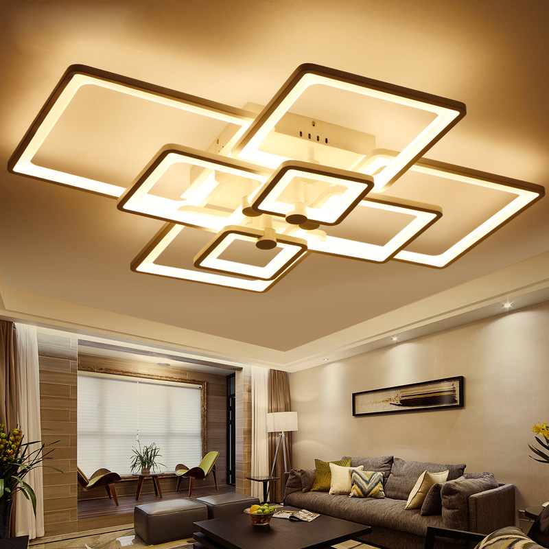 Abajur Direct Selling Ce Ac The New Rectangle Acrylic Led Ceiling Light, Modern Living Room Lamp Of Deco Interior Lighting Home