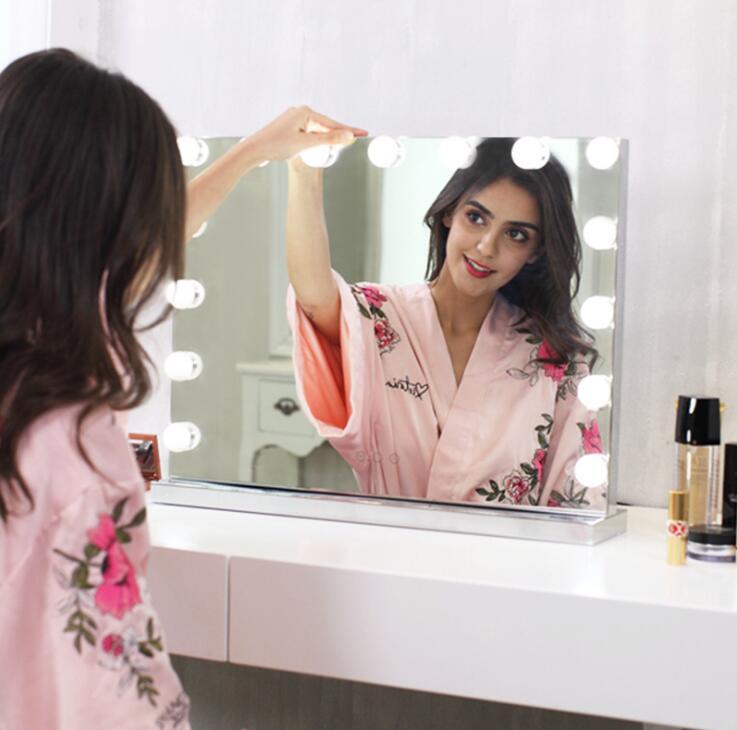 NOUVEAU Frameless Vanity Miroir avec La Lumière Hollywood Maquillage Éclairé Miroir 3 couleur Lumière Cosmétique Miroir Réglable Tactile Écran