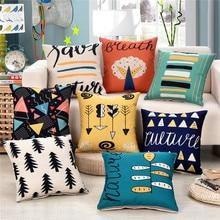 цена на 45x45cm Colorful Cushion Cover Cotton Linen Fashion Printed Car Seat Waist Sofa Home Decorative Throw Pillowcase