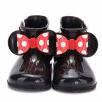 Kids Shoes Memon New Style Girls Boots PVC Soft Leather Big Butterfly Knot Girls Shoes Rain