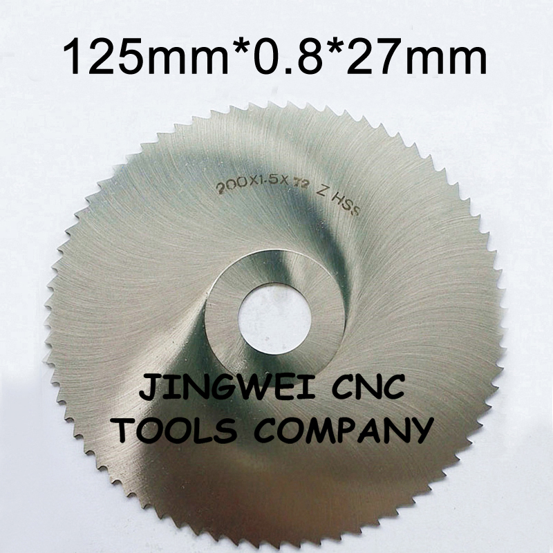 HSS circular slitting saw blade milling cutter 125mm out dia 0 8mm thickness 27mm inner dia