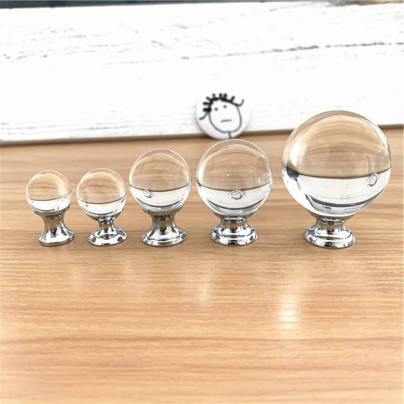 LCH 18mm 20mm 25mm 30mm 40mm Clear Crystal Ball Transparent Round Crystal Ball Knob Jewelry Box Pulls Gift Box Tiny Glass Knobs