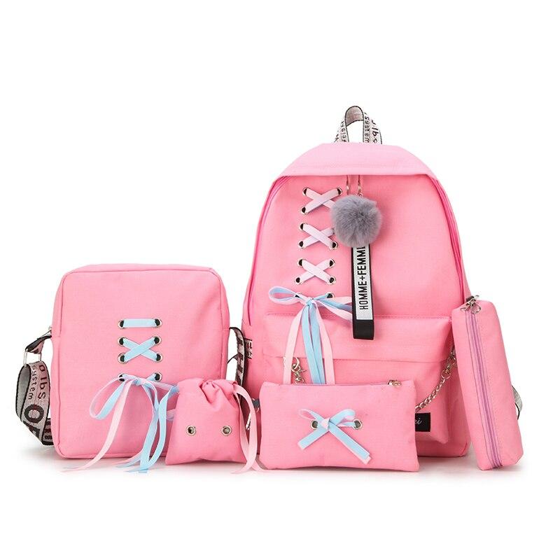 5pcs/set Fashion Backpack Girl School Backpack Mochila Feminina Backpack School Bags For Teenage Girls Backpack SchoolBags Set