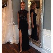 High Neck Black Lace Abendkleid Sexy Split Side Langen Chiffon Abendkleider 2017 vestido de festa Mermaid Flügelärmeln Party Kleid