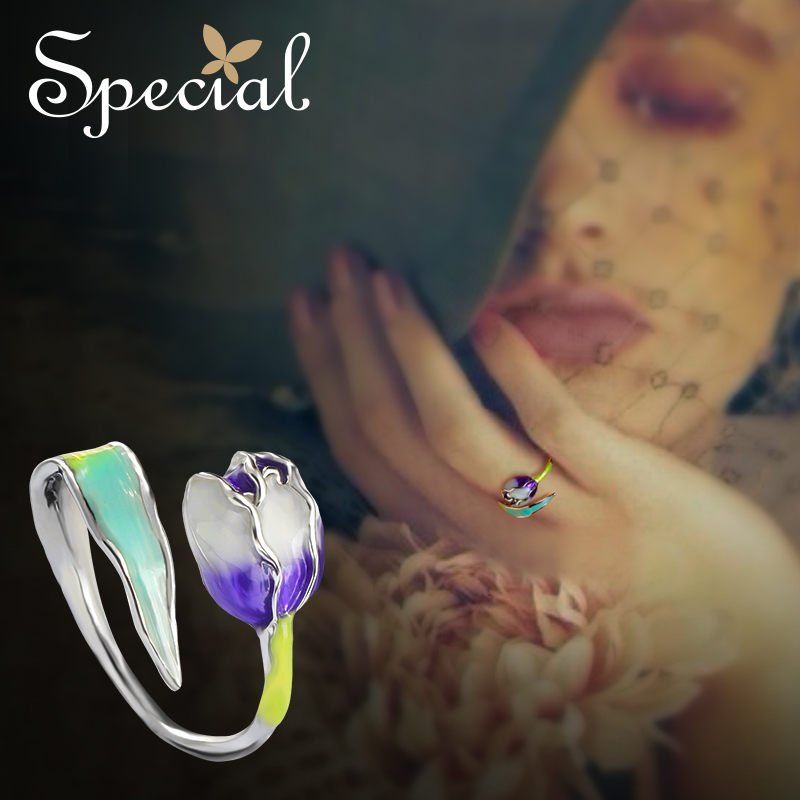 Special Brand Fashion Enamel Flower Rings Purple Tulip End Open Rings Size Adjustable Jewelry Gifts for Women S1720R