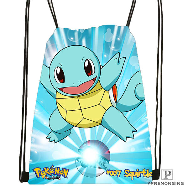 Custom Pokemon_pikachu@02- Drawstring Backpack Bag Cute Daypack Kids Satchel (Black Back) 31x40cm#180611-01-43