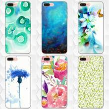 Soft Silicone Case For Apple iPhone 4 4S 5 5S SE 6 6S 7 8 Plus X XS Max XR Spring Art Green Blue Watercolor(China)