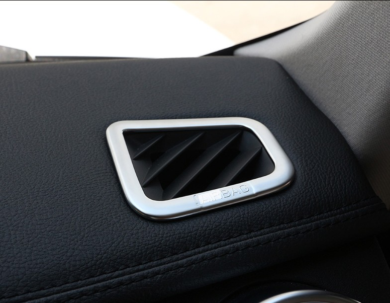 2pcs ABS Chrome style For Land Rover Discovery 4 Range Rover Sport Stickers Car Interior Air outlet frame Trim Cover accessories for land rover discovery 4 lr4 accessories abs dark wood grain center console ac outlet cover trim sticker for lhd 2pcs set