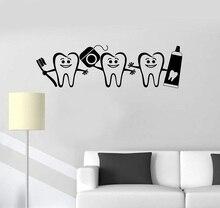 Vinyl muur applique gezonde tanden badkamer dental care tandarts decoratieve sticker muurschildering 2YC12