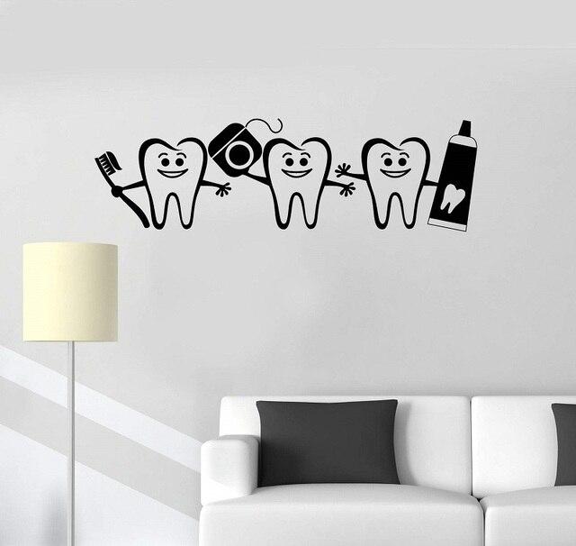 Vinyl wall applique healthy teeth bathroom dental care dentist decorative sticker mural 2YC12