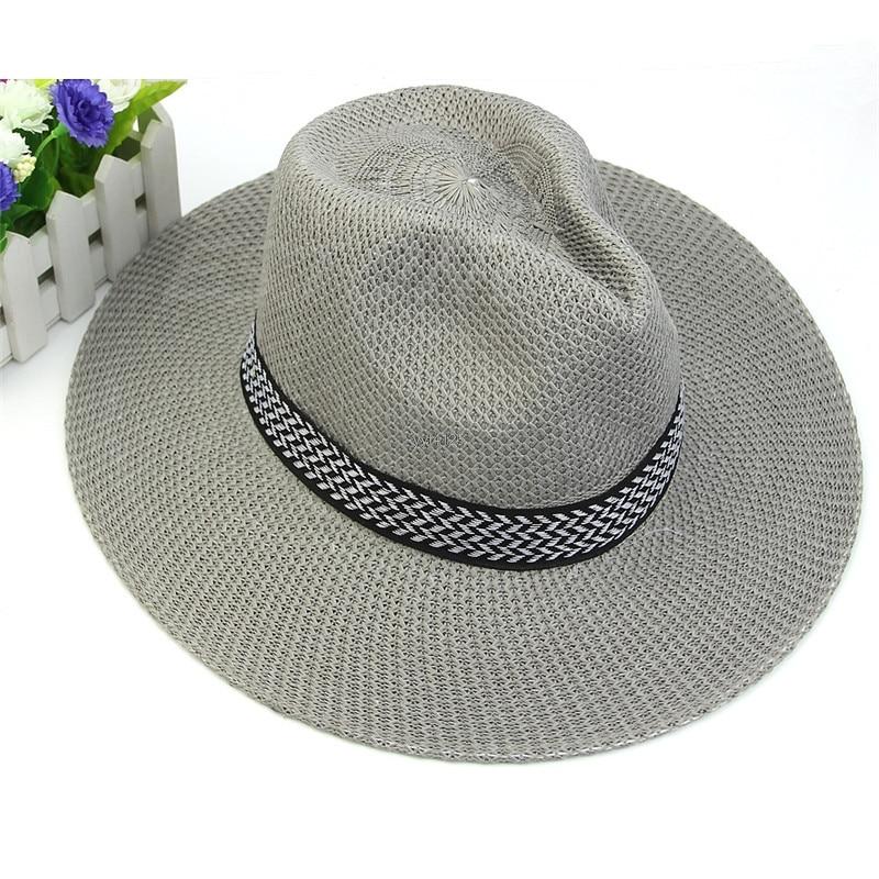 Women Mens Summer Linen Straw Hat Beach Sun Cap Fashion Hot Unisex Casual  Trilby Knitti Middle 65037d12d256