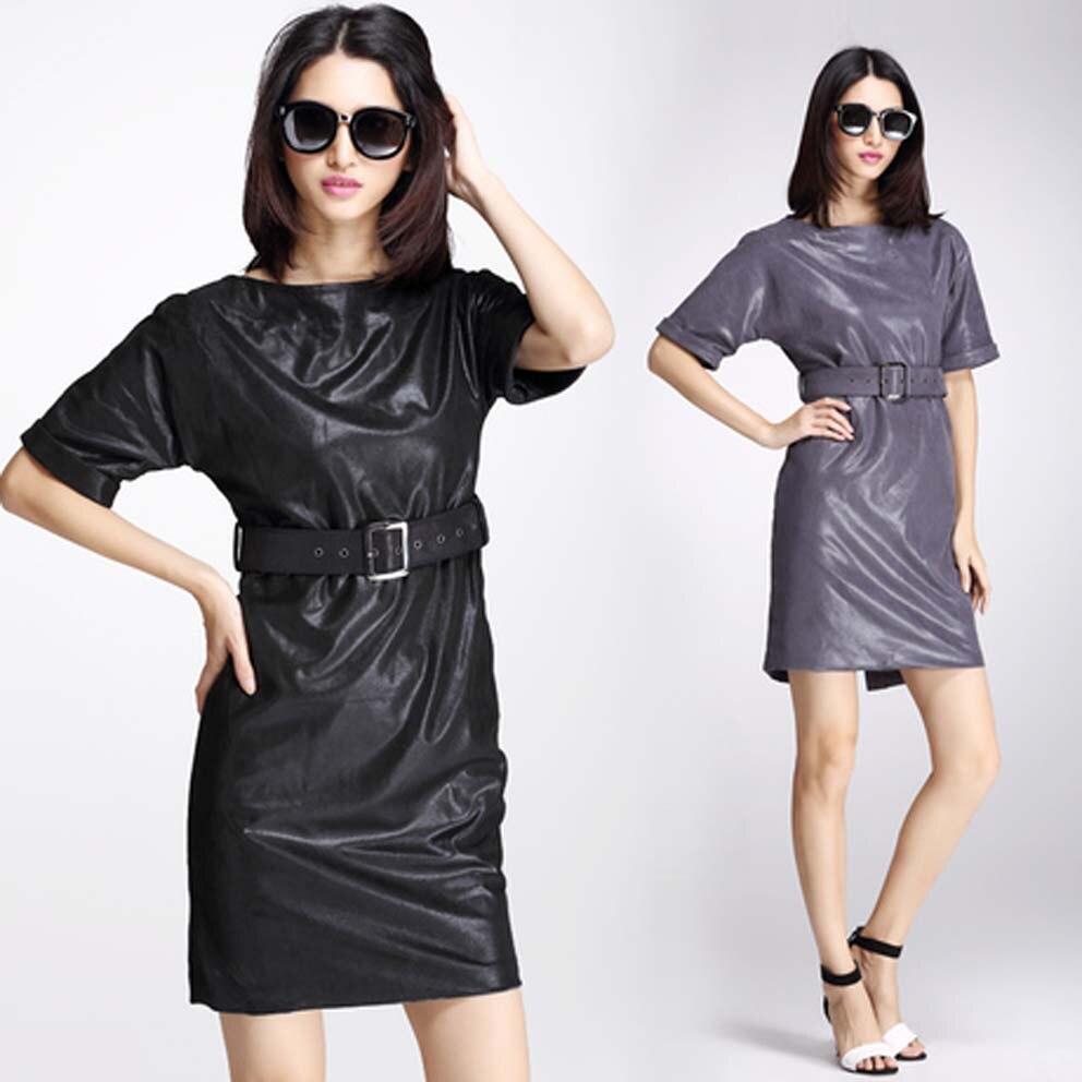 0d786046b40 Marca vestido de 2016 nova outono mulheres vestido + Belt vestidos elegante  feminilidade couro de alta qualidade PU Ms. Slim vestido frete grátis