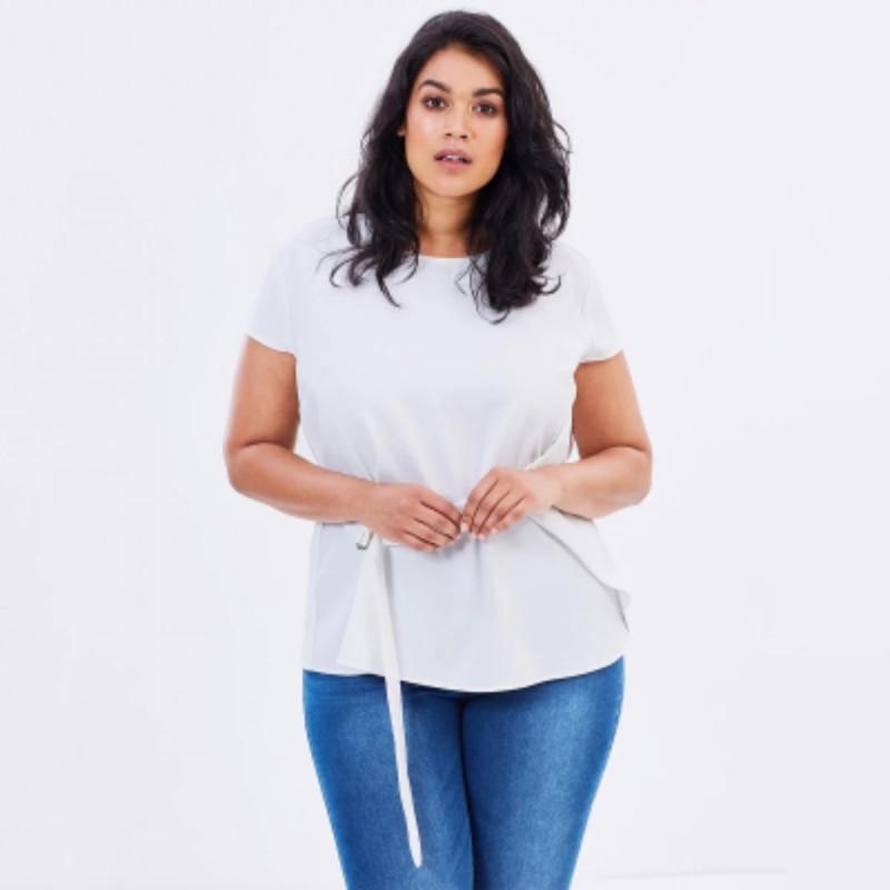 Blanco 7xl Blusa 5xl Las Anillo Mujeres Oro De Decorar cuello Verano 2017 O Grande Cintura Camisa White Oficina Tamaños 6xl Ajustable Del C5Yq7w7