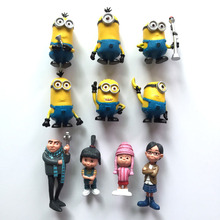Free Shipping Despicable Me2 Minions3D Model Action Figures Toys A Full Set of 10 PCS Christmas Gift  Doll  Toys KH0010