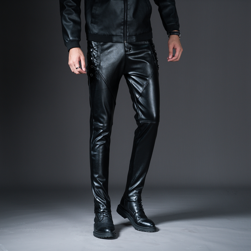 New Winter Spring Men's Skinny Leather Pants Fashion Faux Leather Trousers For Male Trouser Stage Club Wear Biker Pants 19