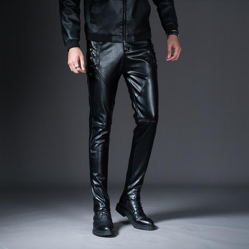 HTB11KdcX.zrK1RjSspmq6AOdFXaQ New Winter Spring Men's Skinny Leather Pants Fashion Faux Leather Trousers For Male Trouser Stage Club Wear Biker Pants
