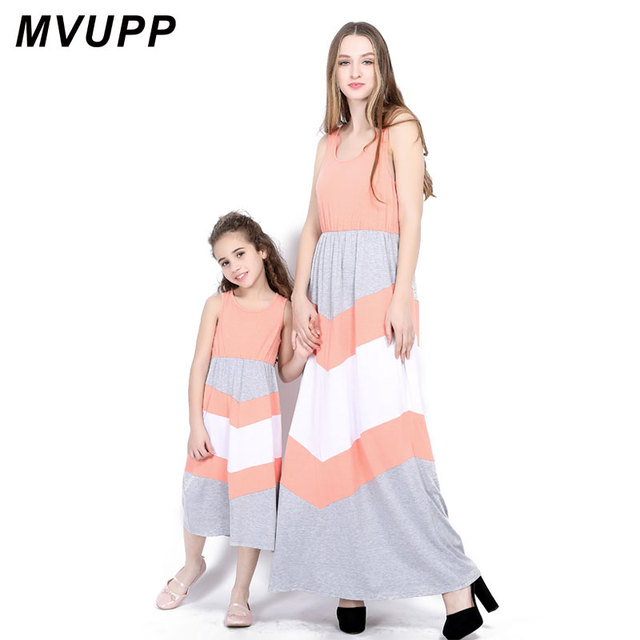 5d6a18450b MVUPP Family Matching Outfits mother daughter dresses Ankle-Length Maxi  dress mommy and me clothes Stripe Bohemian Summer casual