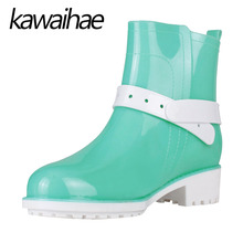 PVC Rubber Shoes Female Waterproof Rainboots Warm Women Rain Boots Kawaihae Brand Knight Riding Boots 405