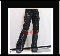 Gothic horn pants men long trousers tide punk non mainstream casual rivet gas hole singer stage costumes clothing 2019