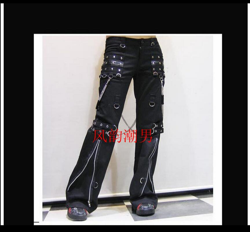 Gothic Horn Pants Men Long Trousers Tide Punk Non-mainstream Casual Rivet Gas Hole Singer Stage Costumes Clothing 2019