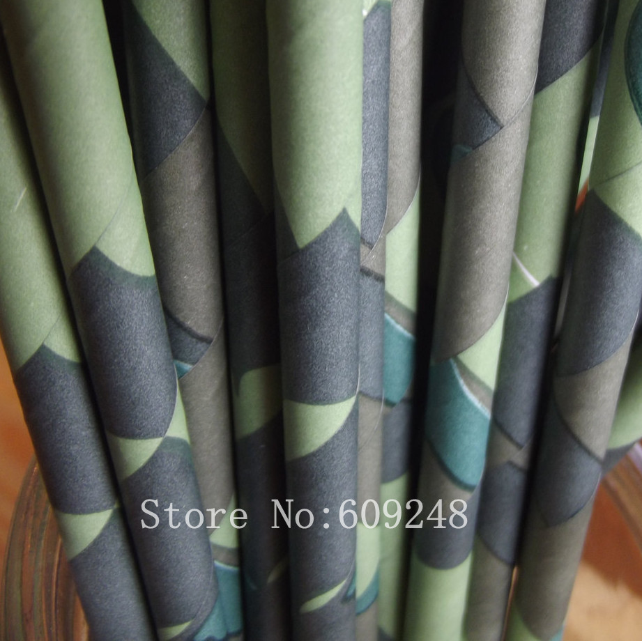 100pcs Green Camouflage Paper Straws Camo Hunting Military